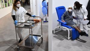 Personal sanitario administra el suero de Moderna en un centro de vacunación ubicado en un auditorio musical de Roma.
