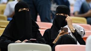 Mujeres saudís, en la semifinal de la Supercopa de España celebrada en Arabia Saudí.