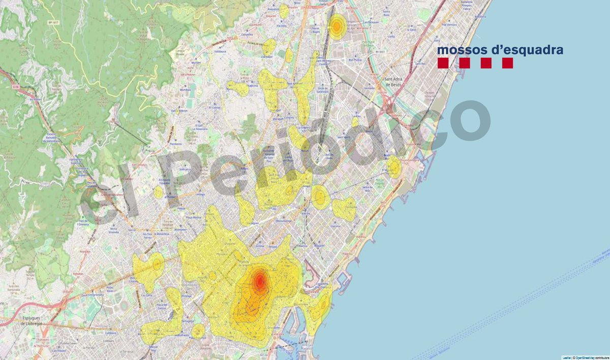 Mapa de hurtos de la primera semana de mayo en Barcelona.
