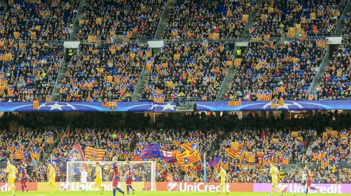 Imagen del Camp Nou en el partido Barça-Bate Borisov de la Champions en noviembre del 2015.
