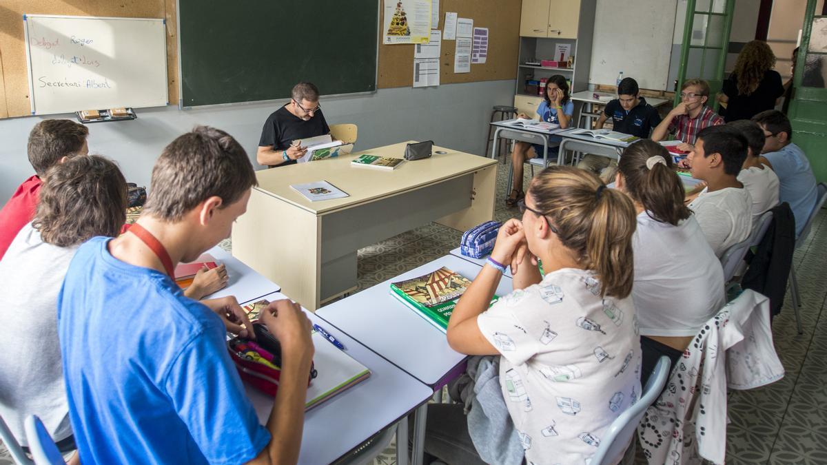 Un aula de la escuela de educación especial Montserrat, en Barcelona