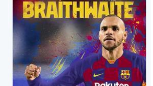 Braithwaite, en un fotomontaje del Barça.