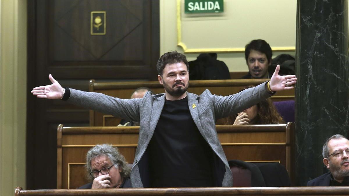 Gabriel Rufián, tras su rifirrafe con Josep Borrell, el 21 de noviembre en el Congreso.