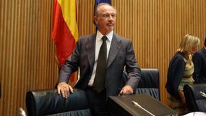 El exministro Rodrigo Rato, durante una comparecencia en la Comisión de Economía del Congreso.