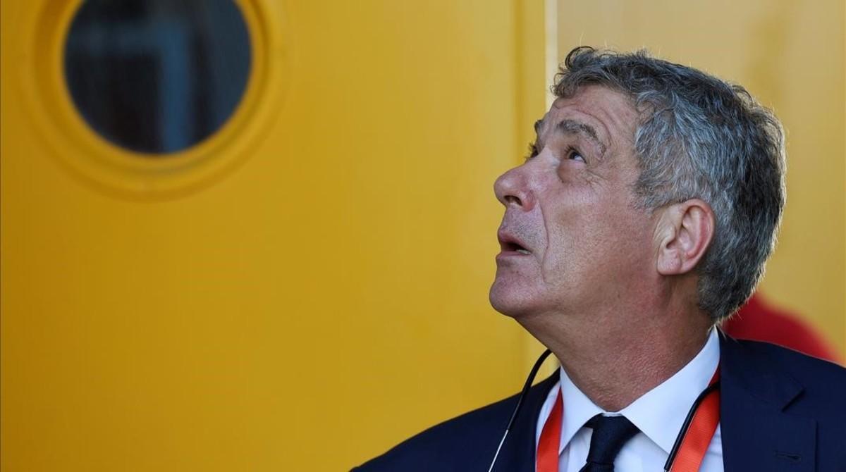 Ángel Villar, en el estadio Reino de León, en septiembre pasado.