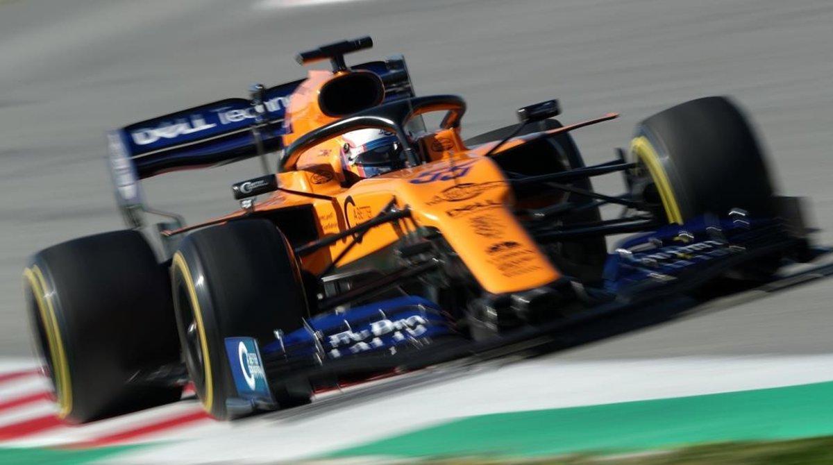 Carlos Sainz (McLaren), hoy, en el Circuit de Catalunya.