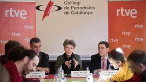 Rosa María Mateo, administradora única de RTVE, este miércoles, en su primera rueda de prensa en Barcelona.