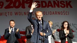Donald Tusk en el acto que conmemora el 30 aniversario de la elección del primer parlamento democrático en Polonia.
