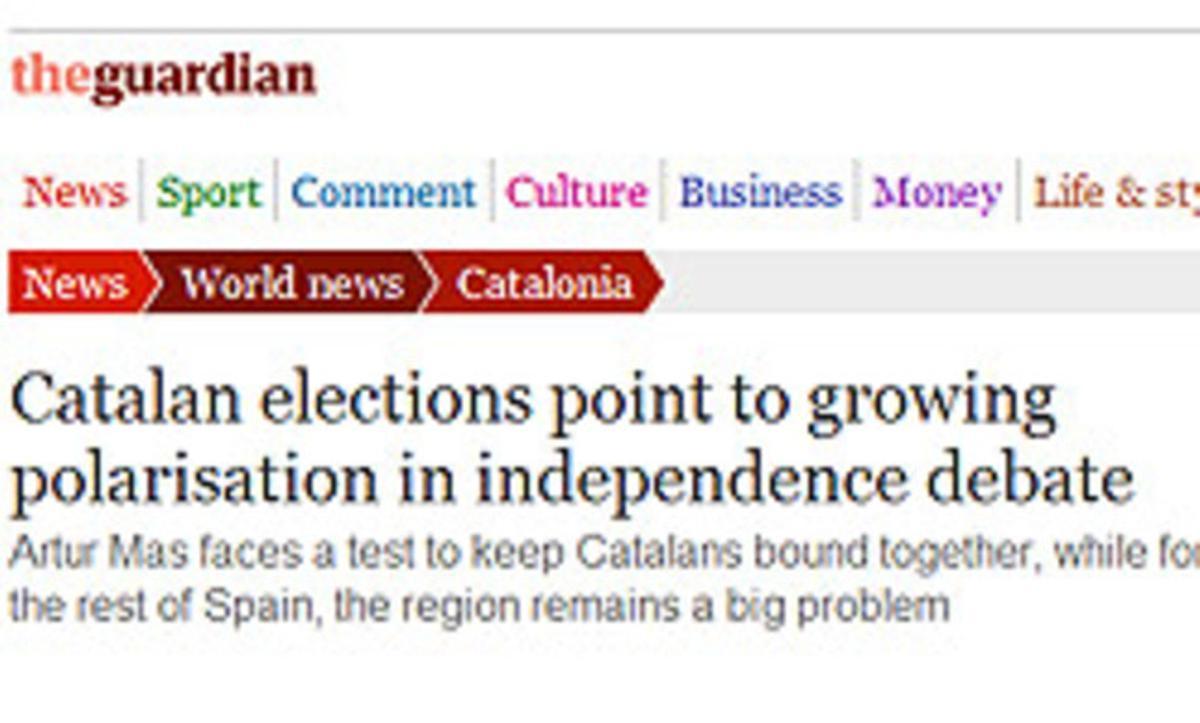 Captura del artículo de la web de 'The Guardian' que analiza los resultados del 25-N.