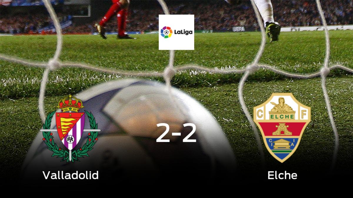 El Real Valladolid y el Elche empatan a dos en el José Zorrilla