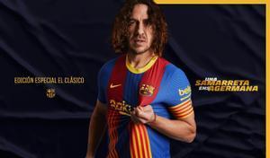 Carles Puyol, con la nueva camiseta para el clásico.