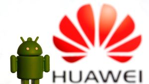 A 3-D printed Android logo is seen in front of a displayed Huawei logo in this illustration picture May 20  2019  REUTERS Dado Ruvic Illustration