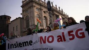 Protesta contra el 5G en Turín, el pasado enero.