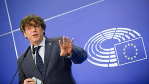 Puigdemont, el pasado 24 de febrero, en el Parlamento Europeo.