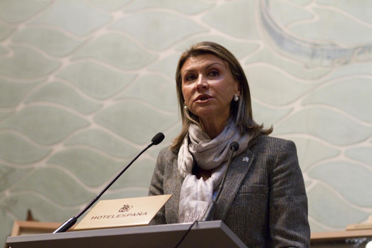 La delegada del Gobierno, María Llanos de Luna, en un acto en Barcelona.