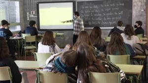 Aula de bachillerato en el instituto Escola Costa i Llobera, esta mañana en Barcelona .