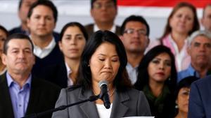 Keiko Fujimori en el momento de reconocer su derrota en las elecciones presidenciales.