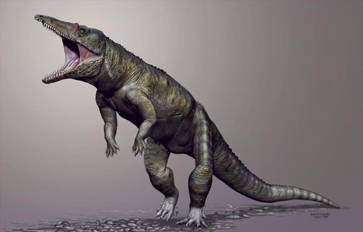 Reconstrucción del cocodrilo prehistórico 'Carnufex carolinensis'.