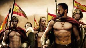 Santiago Abascal caracterizado como un guerrero de la película '300', en un meme de Vox.