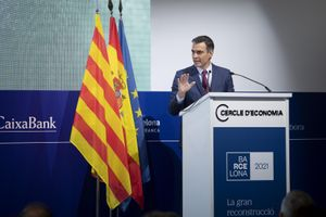 El presidente del Gobierno, Pedro Sánchez, durante su intervención en la clausura de la XXXVI Reunión del Cercle d'Economia, este 18 de junio en el hotel W de Barcelona.
