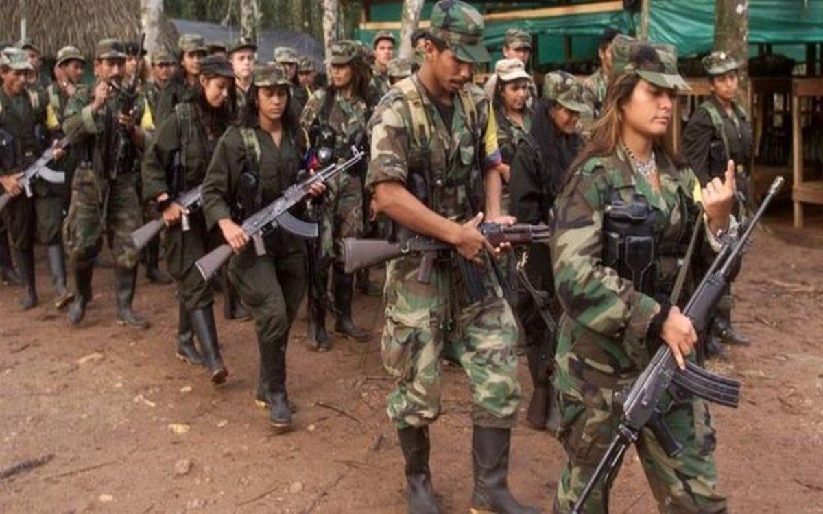 Guerrilleros de las FARC en Colombia durante el proceso de desarme.