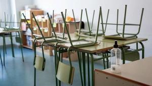 Un aula vacía, este verano.