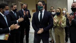 El líder de Vox, Santiago Abascal, tras registrar la moción de censura en el Congreso
