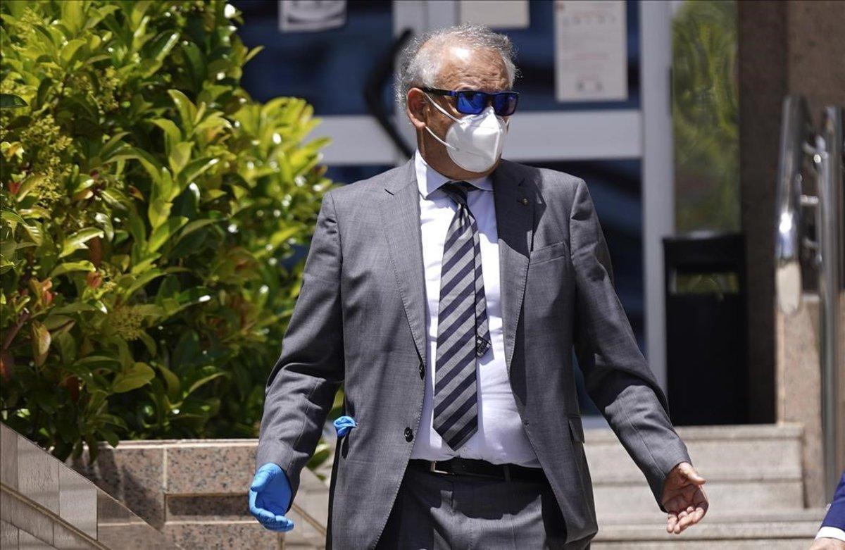 El ex policiaEugenio Pino en la Audiencia Provincial de Madrid este mediodía al termino del juicio del Caso Pujol.