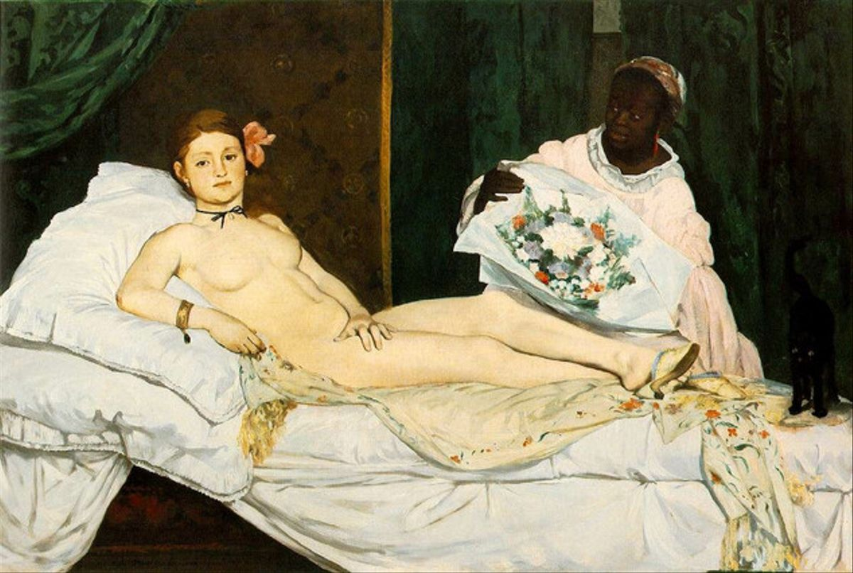 El cuadro 'Olympia' de Manet, ante el cual se desnudó el domingo Déborah de Robertis.