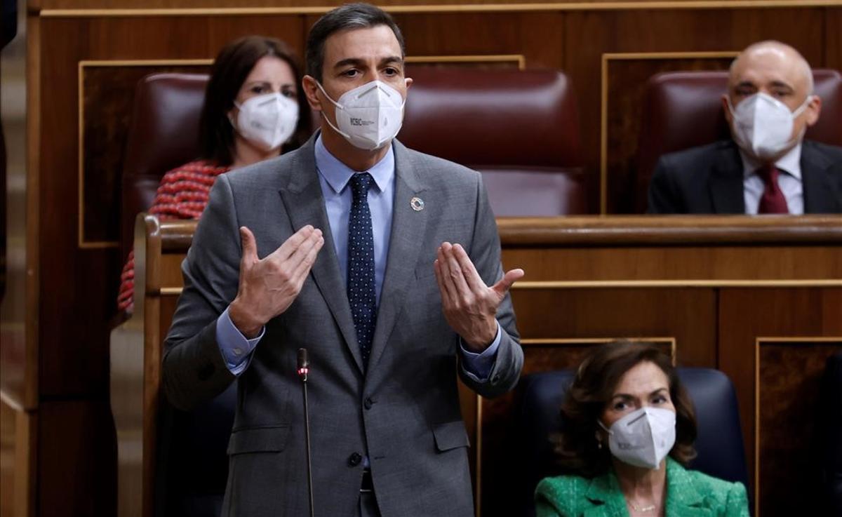 El presidente del Gobierno, Pedro Sánchez, interviene en la sesión de control al Gobierno en el Congreso de los Diputados.