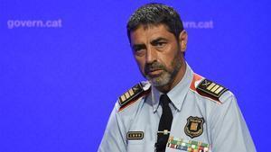 Josep Lluís Trapero,durante una rueda de prensa como Major de los Mossos.