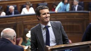Pablo Casado, este martes en el Congreso, durante el debate de investidura.