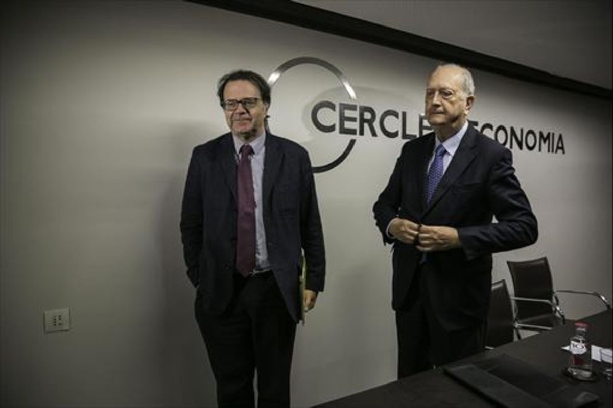 Juan José Brugera y Jordi Alberich, en el Cercle d'Economia.