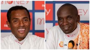Bekele (izquierda) y Kipchoge, en la conferecia de prensa de presentación del maratón de Londres.