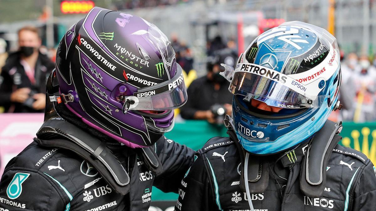 Hamilton, el más rápido, y Bottas, que saldrá primero, tras la calificación.