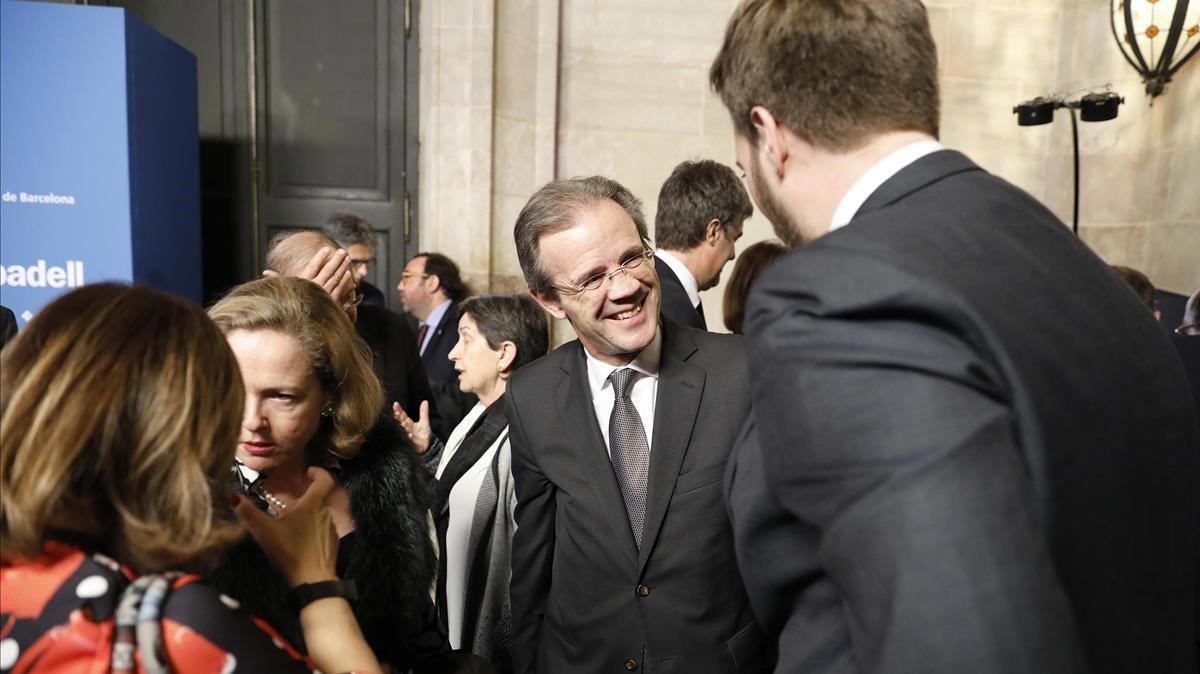 Nadia Calviño, Cristina Gallach, Jordi Gual, yAntonio Asensio.