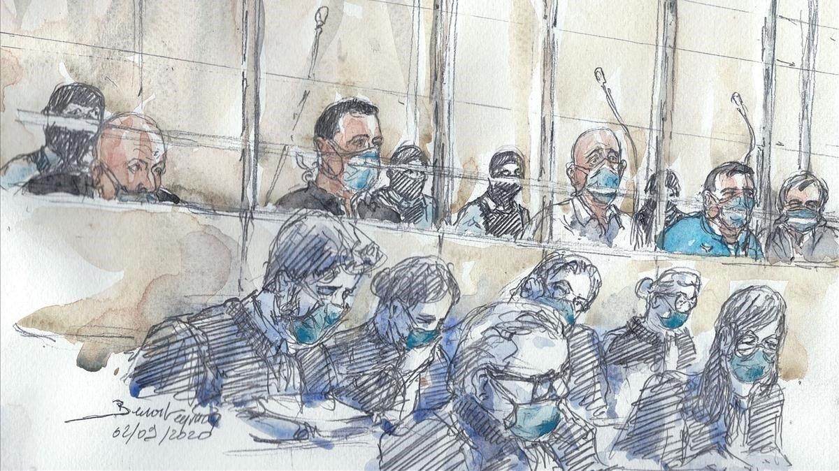 Dibujo de los acusados y sus abogados durante la primera sesión del juicio por el atentado contra 'Charlie Hebdo'.