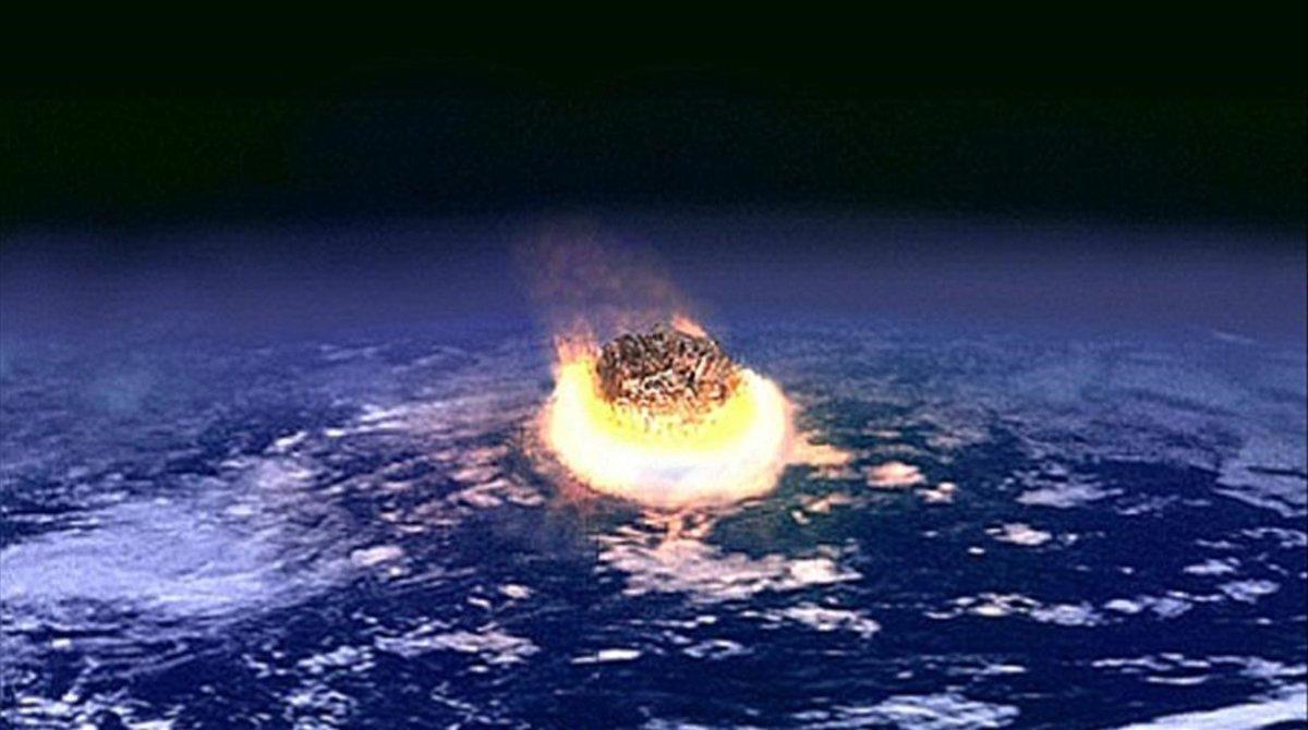 Imagen o recreación del impacto de un asteroide en la tierra.