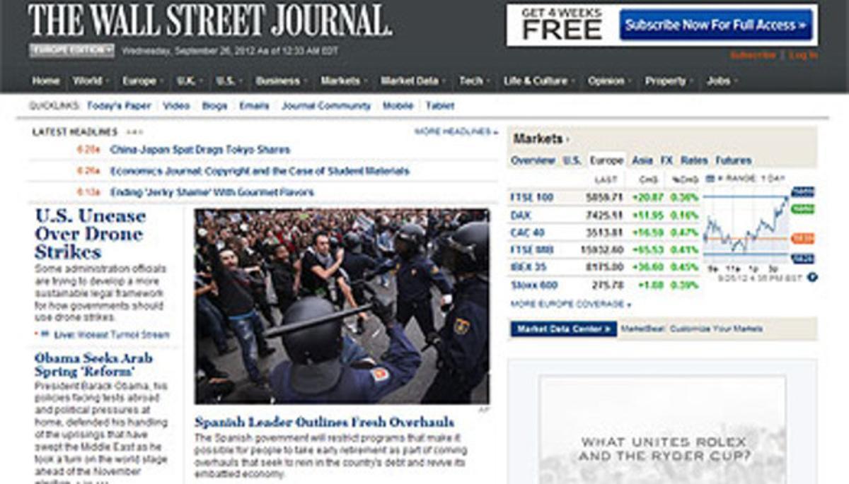 Captura de la web del diario 'The Wall Street Journal' en la que aparece el artículo dedicado a España.