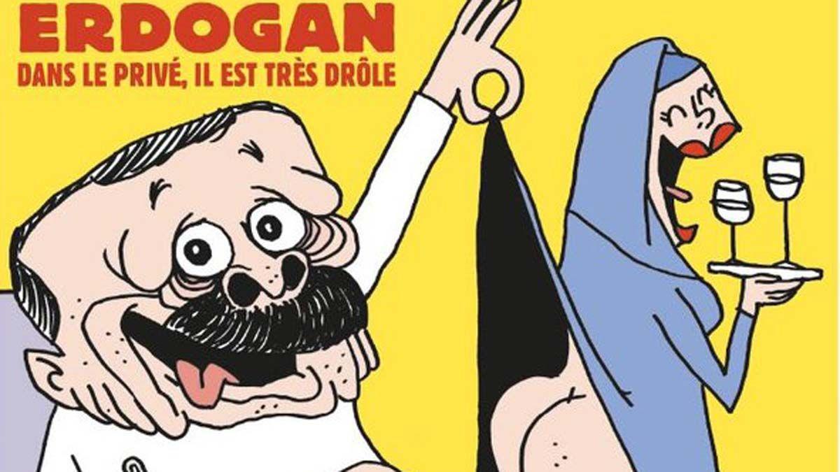 'Charlie Hebdo' caricaturiza a Erdogan bebiendo cerveza y levantando la falda a una mujer