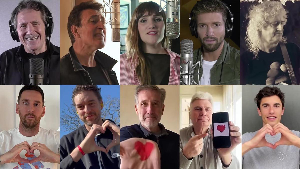 Miguel Ríos, Manolo García, Rozalén, Pablo Alborán, Brian May, Messi, Pau Gasol, Emilio Aragón, Carles Sans y Marc Márquez.