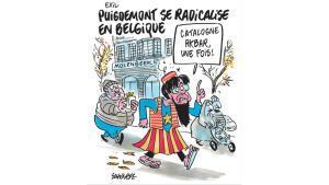 Puigdemont se radicaliza en Bélgica, la caricatura de Charlie Hebdo al 'expresident'.