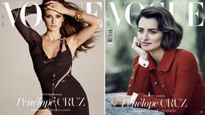 Penélope Cruz, en las dos portadas de 'Vogue España'.