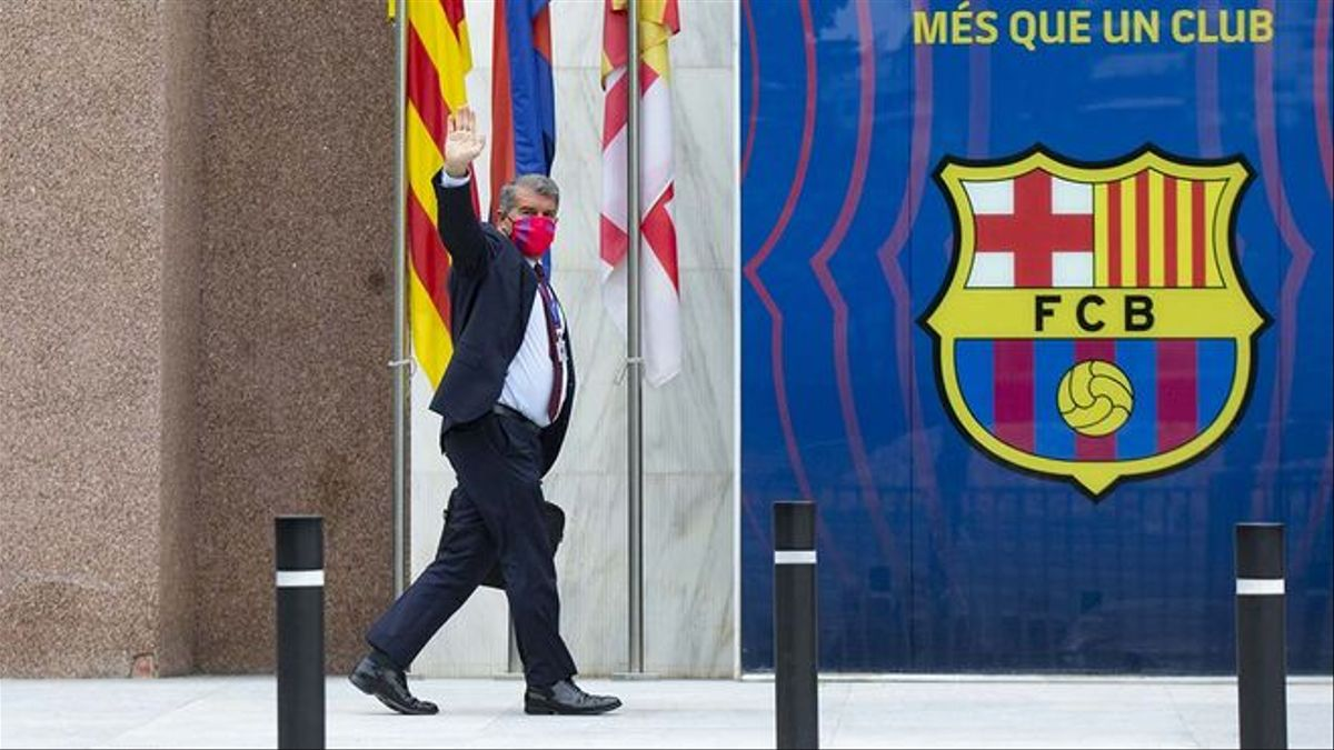 Laporta a su llegada este martes al Camp Nou.