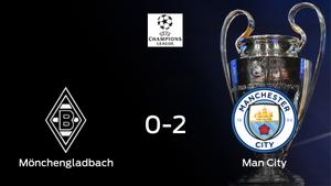 El Manchester City gana contra el Borussia Mönchengladbach el partido de ida de octavos de final (0-2)
