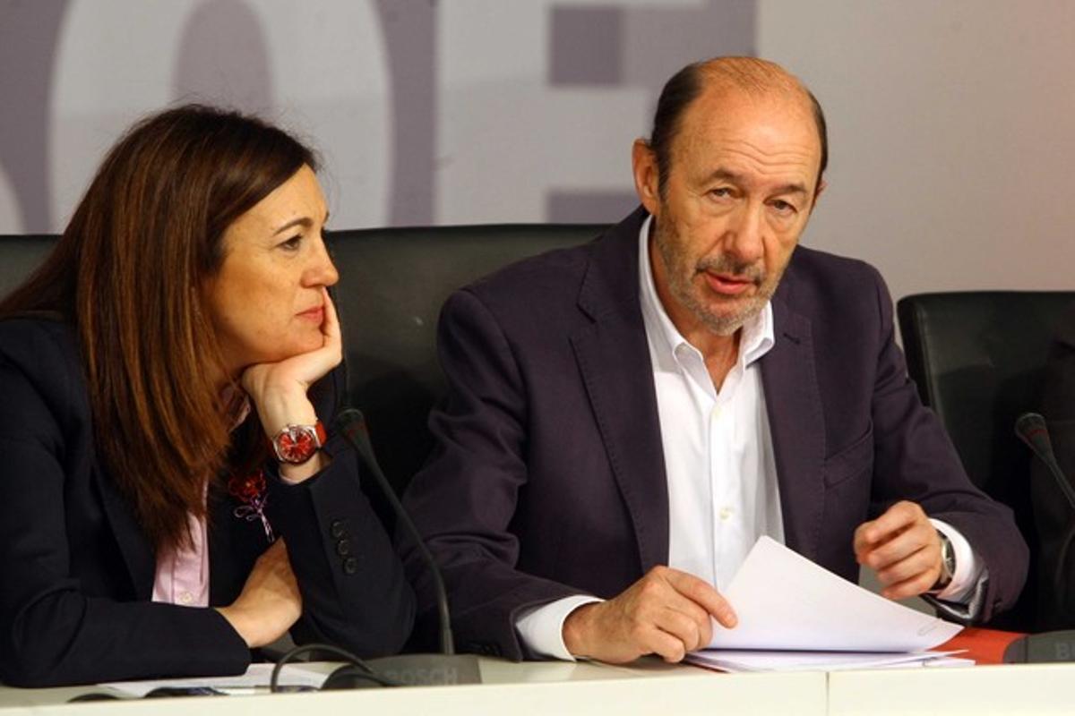 Alfredo Pérez Rubalcaba y Soraya Rodriguez.