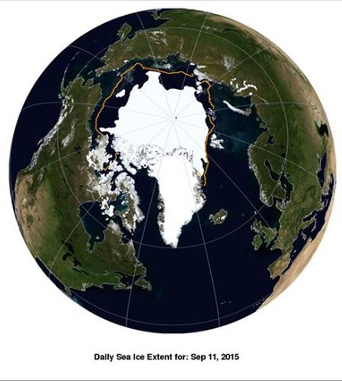 La capa de hielo del Ártico en el mínimo anual del 2015, alcanzado el 11 de septiembre, con el cuarto peor registro de la serie iniciada en 1981.