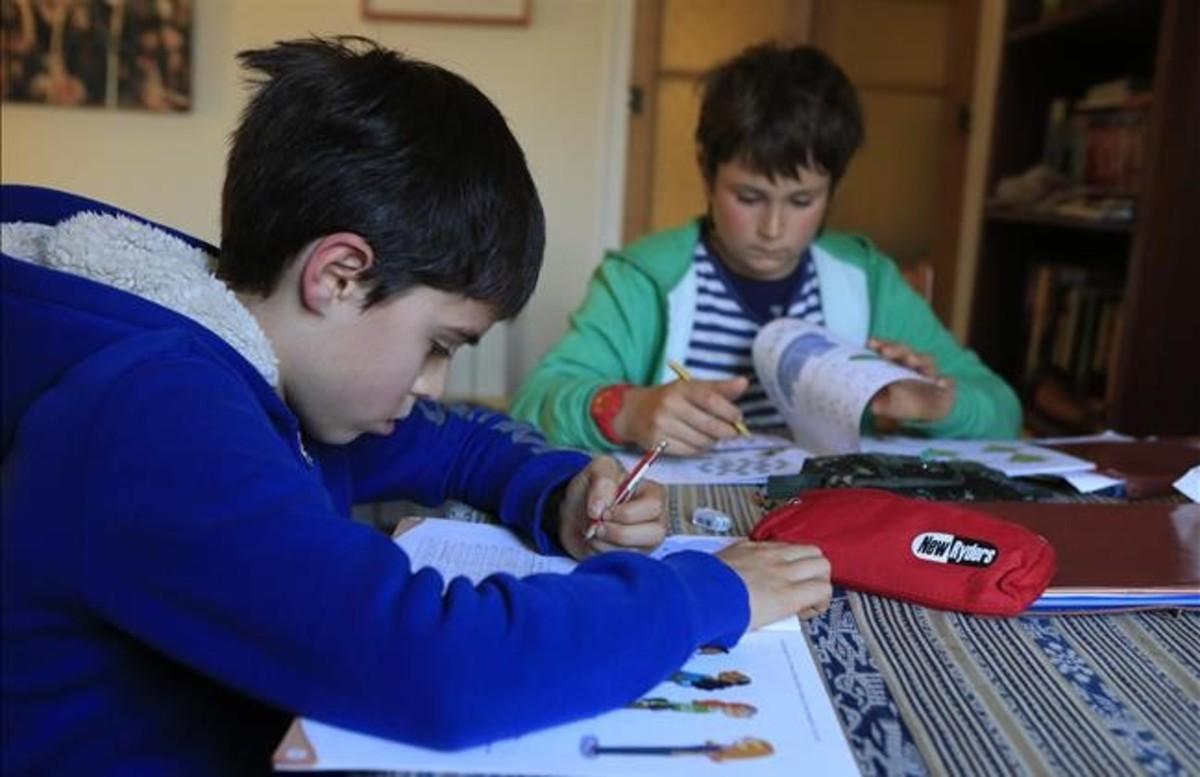 Pau y Unai, alumnos de quinto de primaria, hacen deberes en casa de uno de ellos.