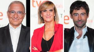Los periodistas Xavier Sardà, Gemma Nierga y Bruno Oro.