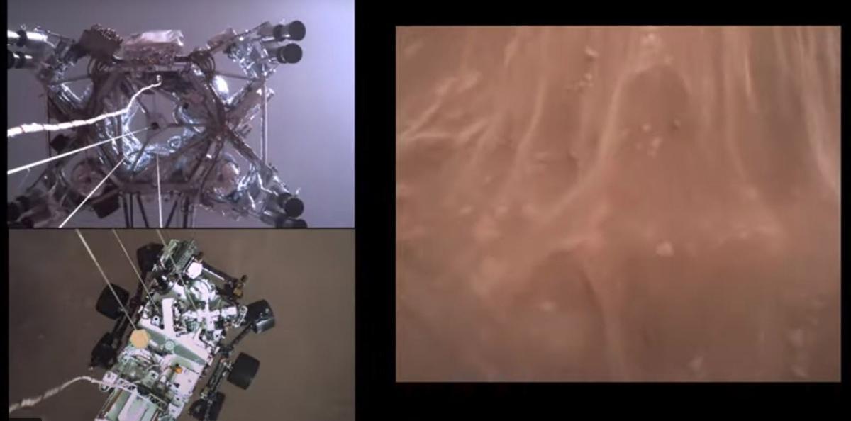 Composición de varias imágenes del descenso del Perseverance hacia Marte.